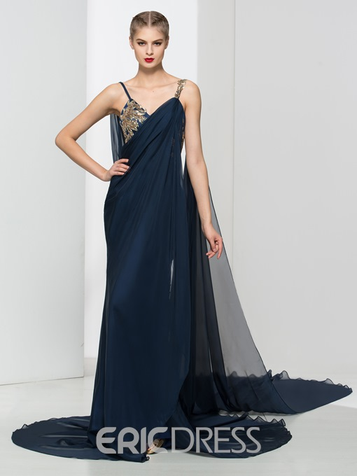 Ericdress Straps Sequins Draped Watteau Train Evening Dress