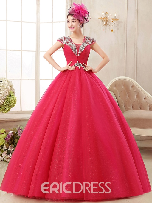 Ericdress Square Neck Ball Gown Beading Crystal Pleats Quinceanera Dress