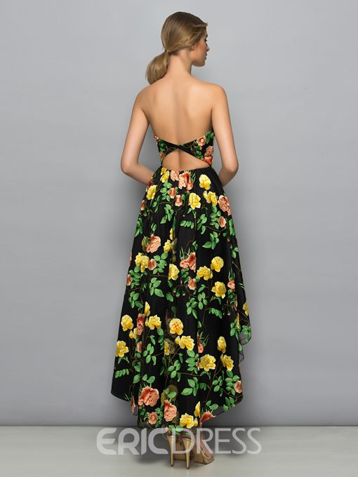 Ericdress Strapless Hollow Print High Low Cocktail Dress