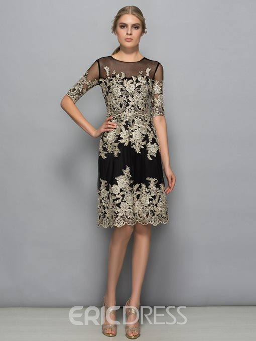 Ericdress Half Sleeves Appliques Sheath Cocktail Dress