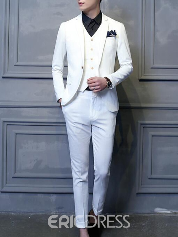 Ericdress Solid Color Vogue Slim Three-Piece of Men's Suit