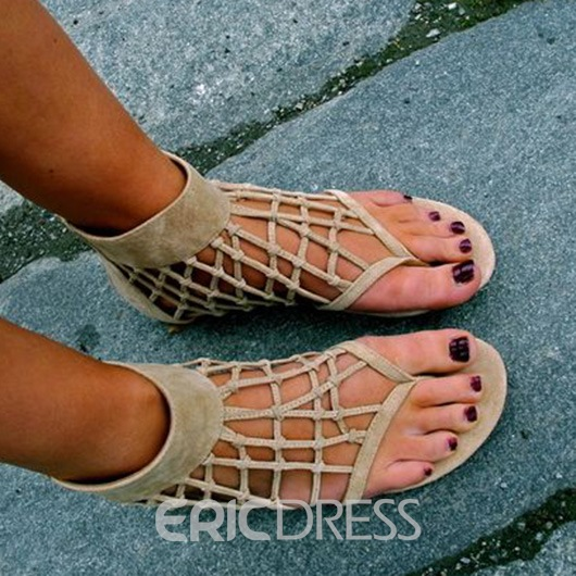 Ericdress Apricot Cage Thong Flat Sandals