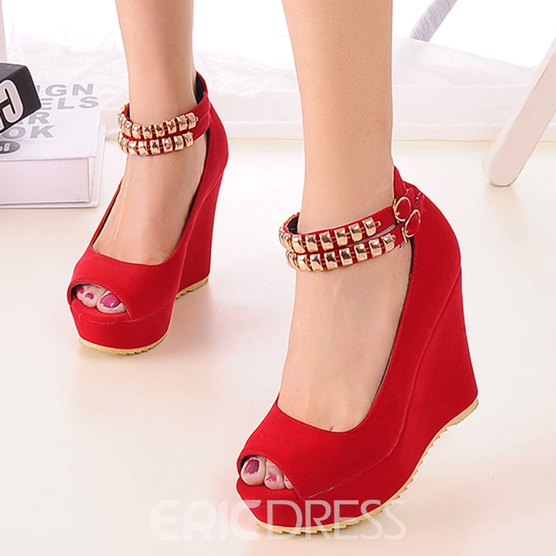 Ericdress Metal Decorated Peep Toe Wedge Sandals