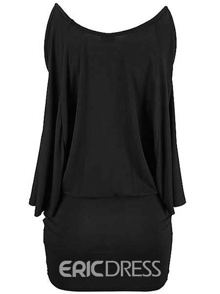 Ericdress Solid Color Cold Shoulder Cape Bodycon Dress