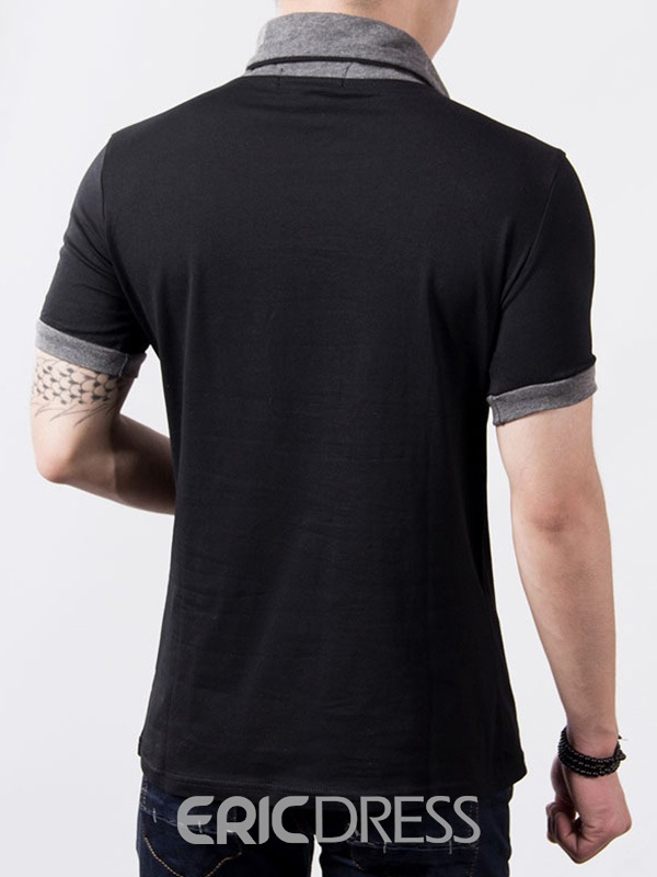 Ericdress Patchwork V-Neck Short Sleeve Casual Men's T-Shirt