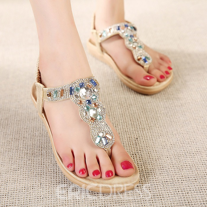 Ericdress Rhinestone Thong Elastic Band Flat Sandals