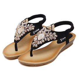 Ericdress Elastic Band Rhinestone Flat Sandals