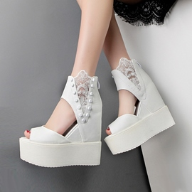 Ericdress Lace Patchwork Wedge Sandals with Rivets