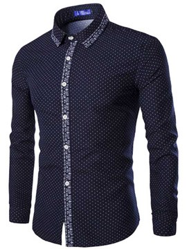 Ericdress Polka Dots Long Sleeve Slim Print Men's Shirt