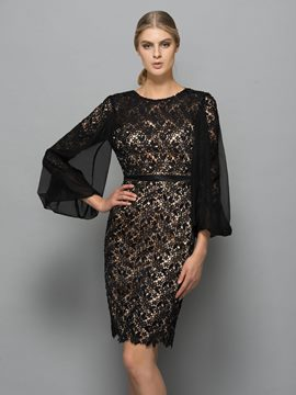Ericdress Column Scoop Long Sleeves Lace Knee-Length Cocktail Dress