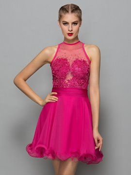 Ericdress Jewel Neck Beading Appliques Short Cocktail Dress