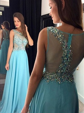 Ericdress Sleeveless Crystal A-Line Floor-Length Prom Dress 2019