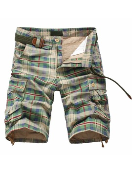 Ericdress Plaid Straight Zipper Mid Waist Mens Casual Pants