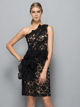 Ericdress One-Shoulder Sheath Lace Mini Evening Dress