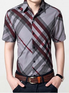 Ericdress Stripe Print Color Block Casual Men's Shirt