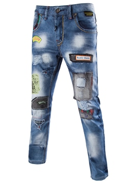 Jeans Ericdress Casual Street Style Patchwork Denim hommes