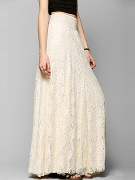 Ericdress Solid Color Lace Maxi Skirt