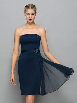 Ericdress Strapless Sheath Beading Sashes Mini Cocktail Dress