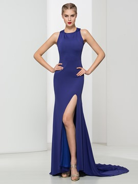 Ericdress Sheath Split-Front Beaded Criss-Cross Straps Evening Dress