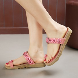 Ericdress Flower Rhinestone Ring-Toe Flat Sandals