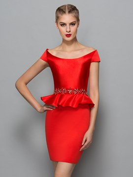 Ericdress Cap Sleeves Sheath Bateau beading Short Cocktail Dress