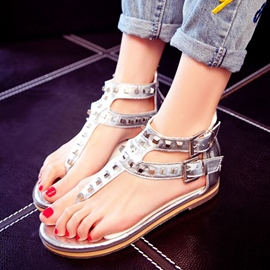 Ericdress Thong Zipper Plain Rivet Flat Sandals