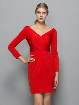 Ericdress Long manches col en v gaine drapée plis robe de Cocktail Mini