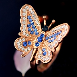 Ericdress Crystal Blue Butterfly Open Ring