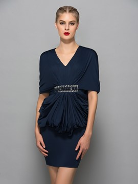 Ericdress col v drapé perles gaine robe de Cocktail