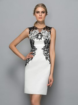 Ericdress Scoop Neck Appliques Spalte Cocktailkleid