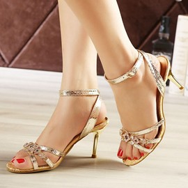 Ericdress Rhinestone Buckle Stiletto Sandals