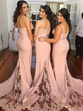 Ericdress Beautiful Spaghetti Straps Lace Mermaid Bridesmaid Dress