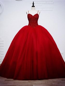Ericdress Spaghetti Straps Beaded Ball Gown Red Wedding Dress
