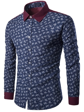Ericdress Patchwork Color Block Print Slim Men's Shirt