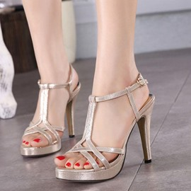 Ericdress Roman T Strap Stiletto Sandals