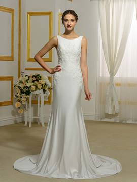Ericdress Simple Scoop Appliques Sheath Wedding Dress