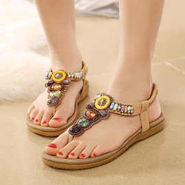 Ericdress Bead Elastic Band Slingback Strap Beach Sandals