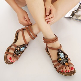 Ericdress Ethnic Open Toe Rhinestone Elastic Band Flat Sandals