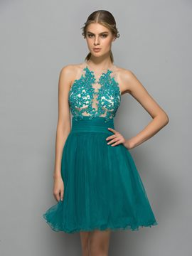 Ericdress Halter applications perles robe de Cocktail