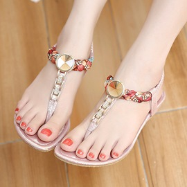Ericdress Elastic Band Rhinestone Sequins Flat Sandals