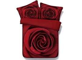 Vivilinen 3D Red Blooming Rose Printed Romantic Cotton 4-Piece Red Bedding Sets