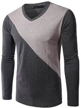 Ericdress Color Block V-Neck Casual Men's T-Shirt