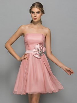 Ericdress Strapless Bowknot Beading Short Cocktail Dress