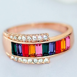 Ericdress Korean Colorful Crystal Ring
