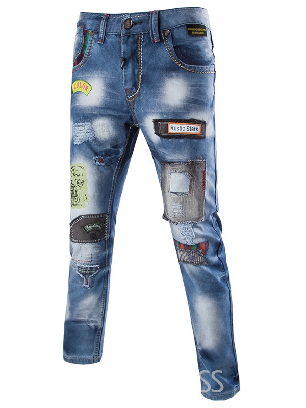 Ericdress Casual Street Style Patchwork Mens Denim Jeans