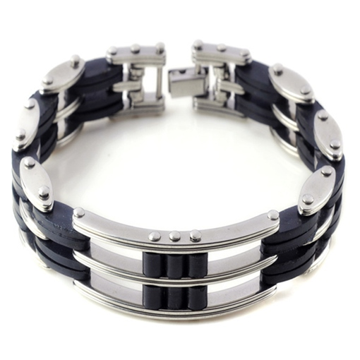 Ericdress Men's Stainless Steel Silicone Bracelet