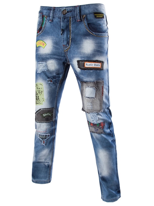 Ericdress Casual Street Style Patchwork Men's Denim Jeans