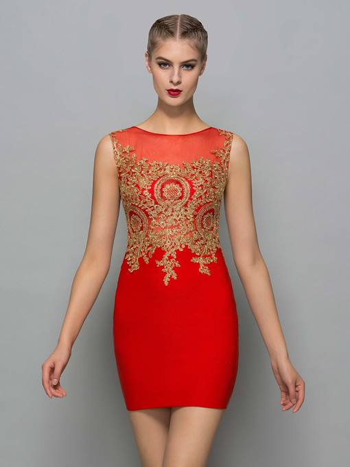 Ericdress Scoop Neck Appliques Red Sexy Cocktail Dress
