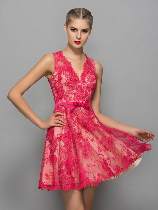Ericdress V-Neck A-Line Appliques Bowknot Button Lace Sashes Cocktail Dress