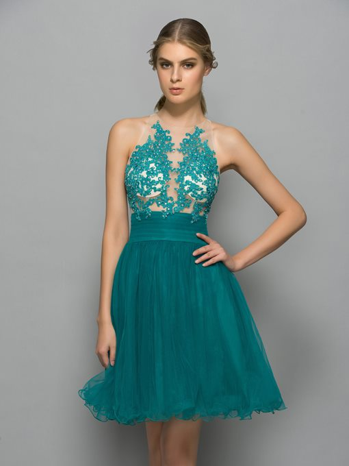 Ericdress Halter Appliques Beading Cocktail Dress
